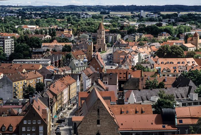 Augsburg Blick vom Turm von St. Peter am Perlach: Jakoberstraße Jakobertor St. Jakob