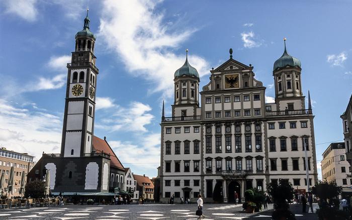 Rathausplatz / Maximilianstraße: St. Peter am Perlach und Augsburger Rathaus