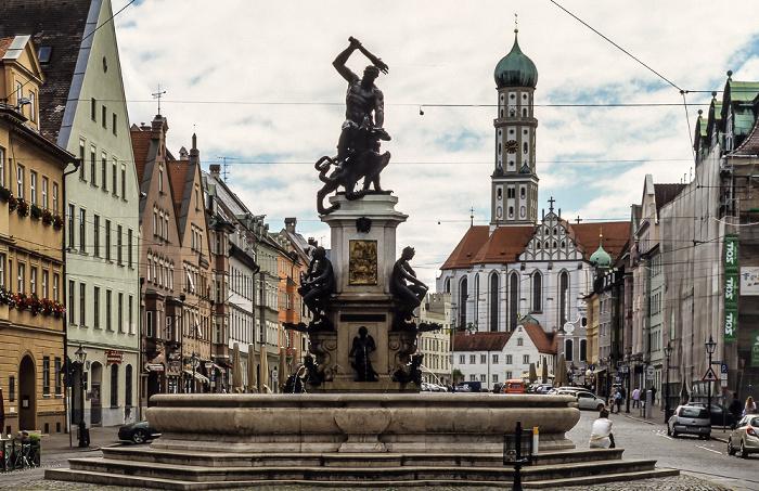 Augsburg Maximilianstraße: Herkulesbrunnen Basilika St. Ulrich und Afra