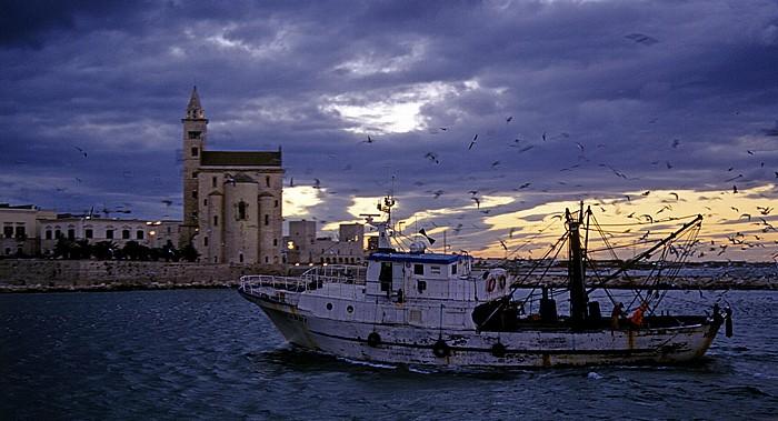 Hafen (Marina Trani): Zurückkehrendes Fischerboot Cattedrale di San Nicola Pellegrino