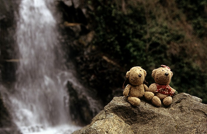 Kryos Potamos Troodos-Gebirge: Kaledonia Trail: Teddy und Teddine an den Kaledonia-Wasserfällen