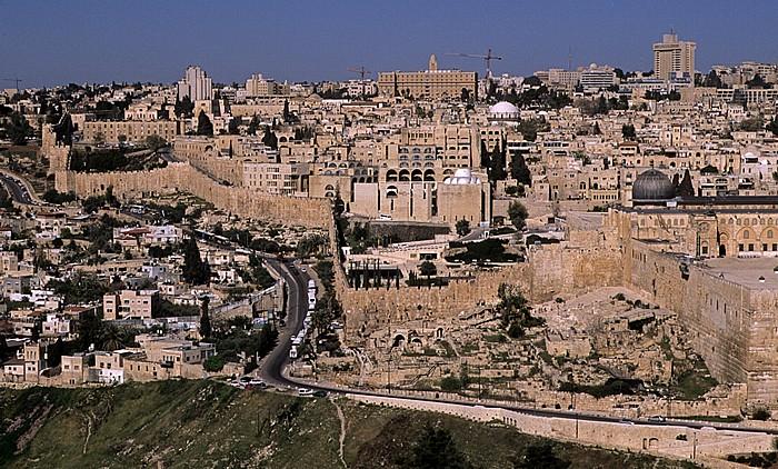 Blick vom Ölberg: Tempelberg mit al-Aqsa-Moschee Jerusalem