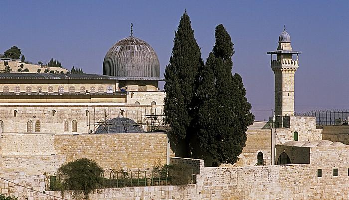 Altstadt: Tempelberg mit al-Aqsa-Moschee und El-Fakhariyya-Minarett Jerusalem
