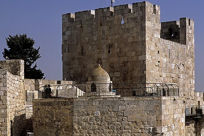 Altstadt (Armenisches Viertel): Davidszitadelle - Mamlukenkuppel und Ostturm Jerusalem