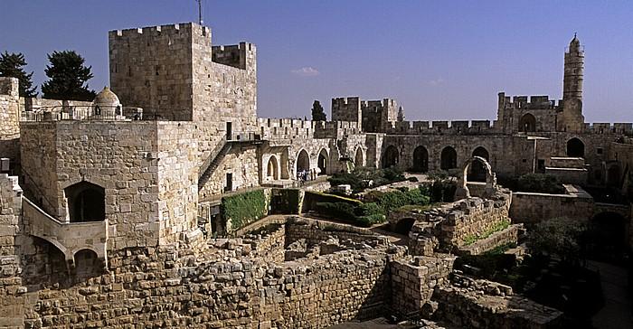 Altstadt (Armenisches Viertel): Davidszitadelle - Mamlukenkuppel, Ostturm und Davidsturm Jerusalem