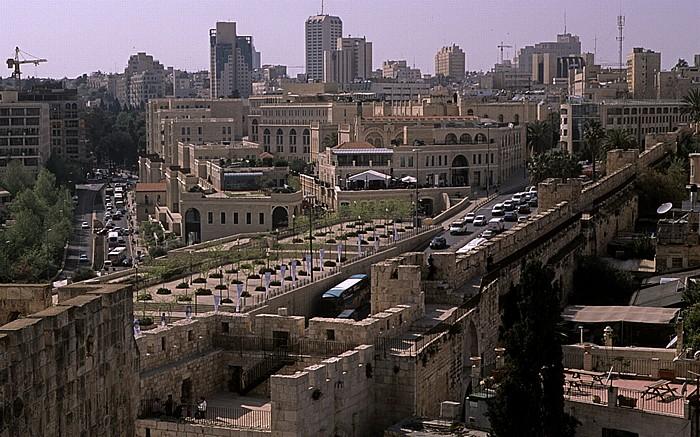 Altstadt (Armenisches Viertel): Blick von der Davidszitadelle auf die Neustadt Jerusalem