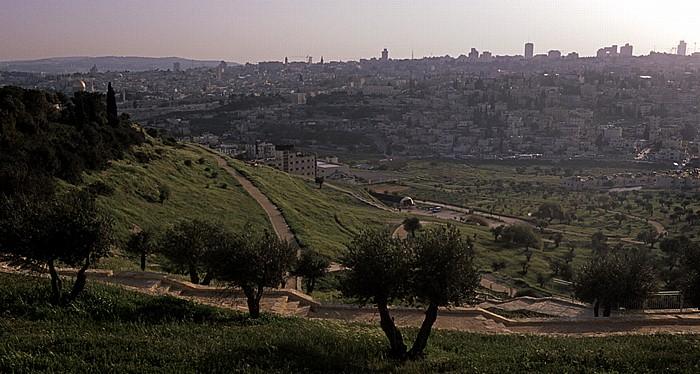 Blick vom Skopus (Mount Scopus): Kidrontal, Altstadt und Neustadt Jerusalem