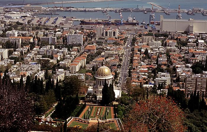 Haifa Berg Karmel: Gärten der Bahai mit dem Schrein des Bab, Stadtzentrum, Hafen, Mittelmeer