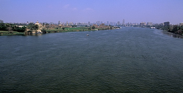 Kairo Blick von der Al Munib Bridge: Dahab Island (Nilinsel), Nil
