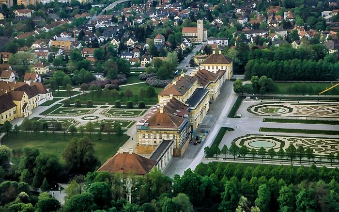 Oberschleißheim Luftbild aus Zeppelin: Schlossanlage Schleißheim - Altes Schloss und Neues Schloss Altes Schloss Schleißheim Neues Schloss Schleißheim