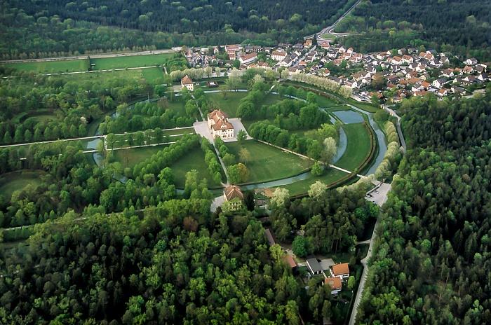 Luftbild aus Zeppelin: Schlossanlage Schleißheim - Schlosspark, Schloss Lustheim München 2011