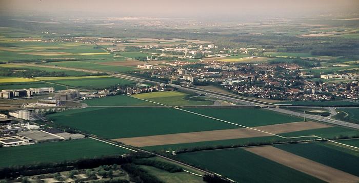 Luftbild aus Zeppelin: Bundesautobahn A 9 mit Anschlussstelle Garching-Süd Forschungs-Neutronenquelle Heinz Maier-Leibnitz Hochbrück Hochschul- und Forschungszentrum