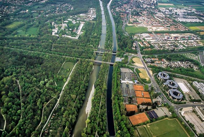 München Luftbild aus Zeppelin: Englischer Garten (Hirschau), Isar und Mittlere-Isar-Kanal Feringapark Fernsehgelände Bayerischer Rundfunk Freimann Föhringer Ring Freimann Oberföhring