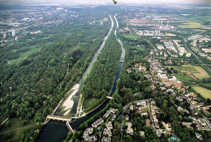 München Luftbild aus Zeppelin: Englischer Garten (Hirschau), Isar, Mittlere-Isar-Kanal, Oberföhring Allianz Arena Heizkraftwerk München-Nord Stauwehr Oberföhring