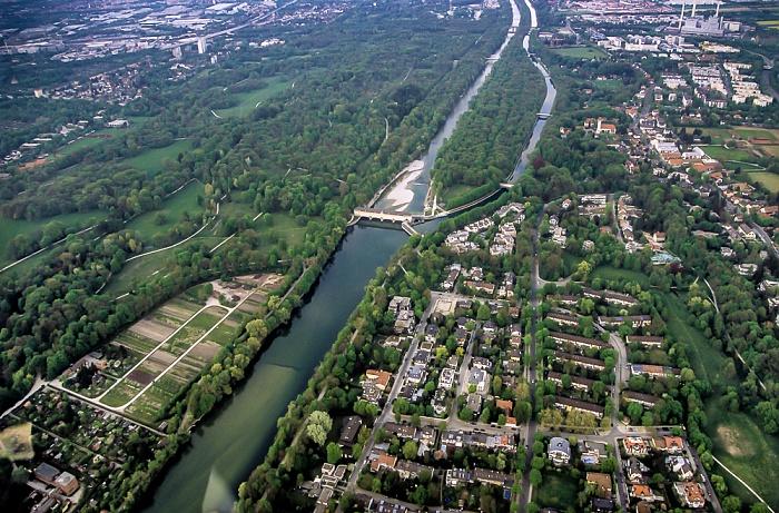 München Luftbild aus Zeppelin: Englischer Garten (Hirschau), Isar, Mittlere-Isar-Kanal, Oberföhring Heizkraftwerk München-Nord Stauwehr Oberföhring