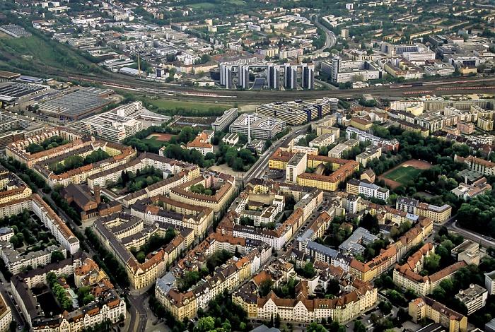 München Luftbild aus Zeppelin: Bogenhausen (Steinhausen), Haidhausen Berg am Laim Telekom Center München