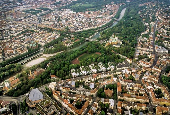 Luftbild aus Zeppelin: Lehel, Isar, Praterinsel, Isar, Maximiliansanlagen, Haidhausen München