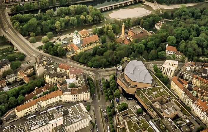 Luftbild aus Zeppelin: Ludwigsbrücke, Müllersches Volksbad, Muffathalle, Gasteig München 2011