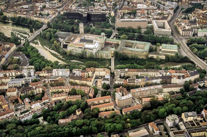 Luftbild aus Zeppelin: Isar, Corneliusbrücke, Museumsinsel mit Deutschem Museum, Ludwigsbrücke München