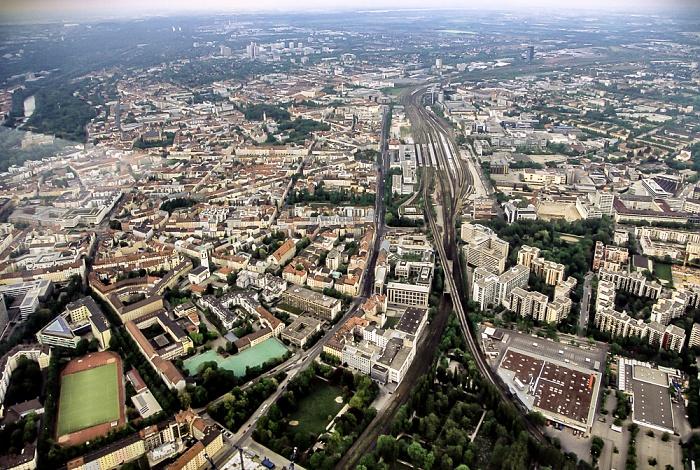Luftbild aus Zeppelin (v.l.): Haidhausen, Ostbahnhof, Berg am Laim München