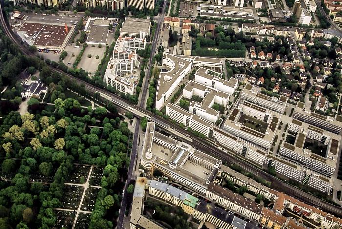 Luftbild aus Zeppelin: Siemens München-St.-Martin-Straße / Nokia Siemens Networks und S-Bahnhof St.-Martin-Straße München