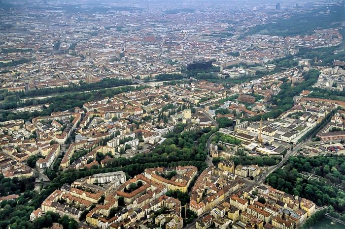 Luftbild aus Zeppelin (v.o.): Altstadt, Au, Giesing München