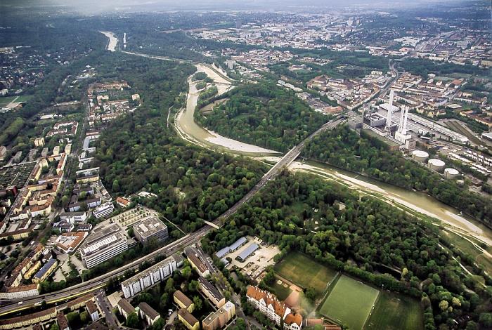 Luftbild aus Zeppelin: Untergiesing-Harlaching, Isar mit Flaucher, Sendling München