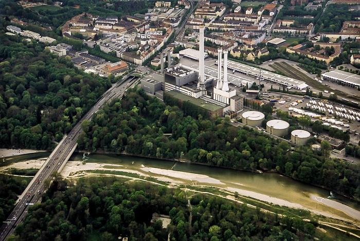 Luftbild aus Zeppelin: Isar mit Flaucher, Heizkraftwerk München-Süd, Großmarkthalle München