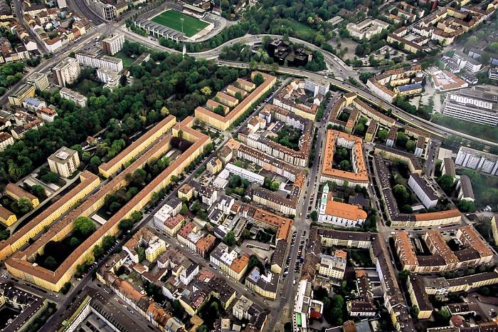 Luftbild aus Zeppelin: Giesing - Pilgersheimer Straße (links) und Hans-Mielich-Straße München