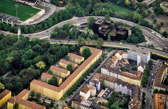Luftbild aus Zeppelin: Giesing - Candidstraße (Mittlerer Ring), Ärztehaus Candidplatz und Candidplatz München