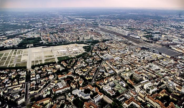 Luftbild aus Zeppelin: Ludwigsvorstadt-Isarvorstadt, Maxvorstadt - Theresienwiese, Hauptbahnhof München