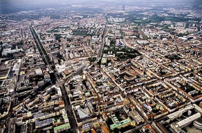 Luftbild aus Zeppelin: Maxvorstadt, Neuhausen, Olympiapark (von unten nach oben) München