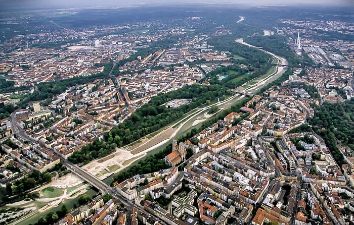 Luftbild aus Zeppelin: Au-Haidhausen, Isar, Ludwigsvorstadt-Isarvorstadt München 2011