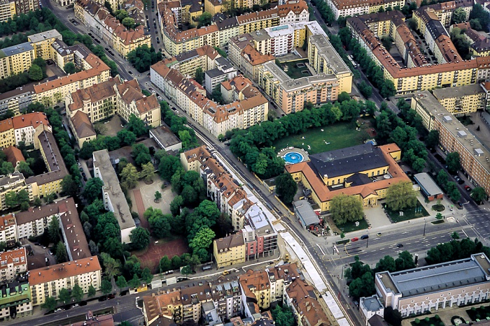 Luftbild aus Zeppelin: Schwabing - Nordbad München