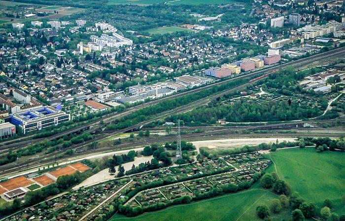 Luftbild aus Zeppelin: Bahnstrecke Hauptbahnhof - Pasing München 2011