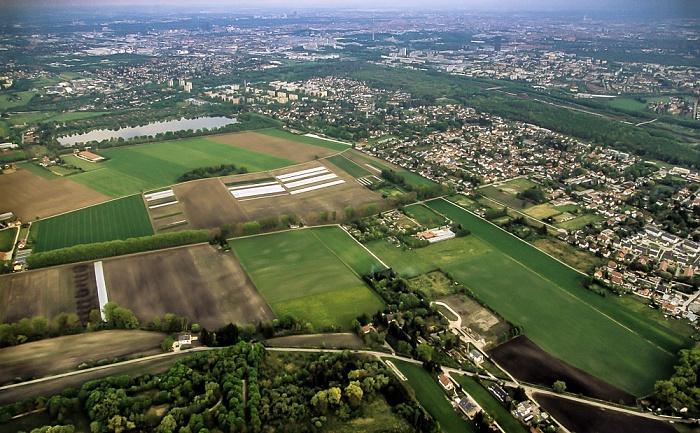 München Luftbild aus Zeppelin: Feldmoching-Hasenbergl - Dreiseenplatte mit Fasaneriesee und Lerchenauer See