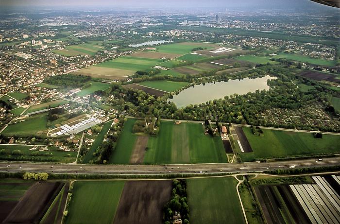 München Luftbild aus Zeppelin: Feldmoching-Hasenbergl Autobahnring A 99 Fasaneriesee Feldmochinger See Lerchenauer See