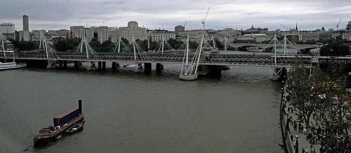 Blick aus dem London Eye Golden Jubilee Bridge Hungerford Bridge Themse Waterloo Bridge