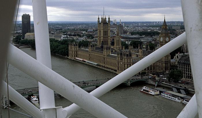 Blick aus dem London Eye Big Ben Houses of Parliament Millbank Tower Victoria Tower Gardens