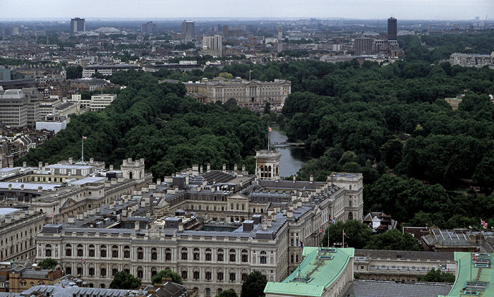Blick aus dem London Eye: Foreign and Commonwealth Office (FCO), St James's Park und Buckingham London