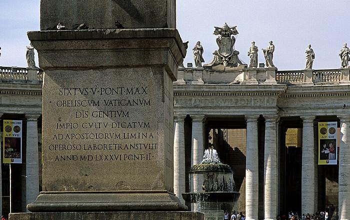 Vatikan Petersplatz: Obelisk, Brunnen, Kolonnaden