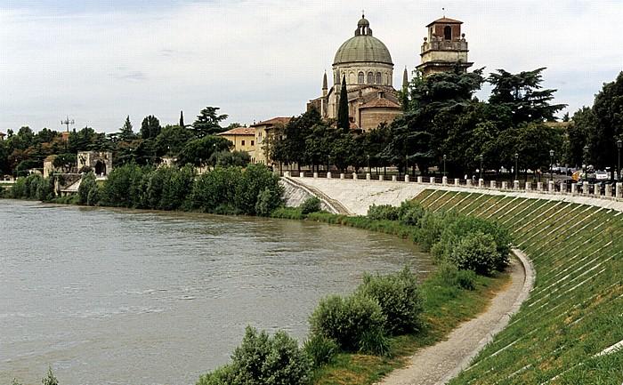 Centro Storico (Altstadt): Etsch (Adige), Chiesa di San Giorgio in Braida Verona