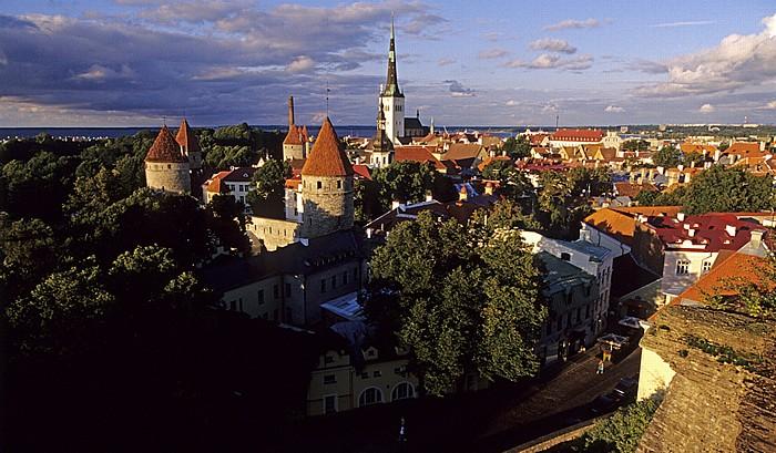 Altstadt: Blick vom Domberg - Türme der Stadtmauer und Olaikirche (Oleviste kirik) Tallinn 2011