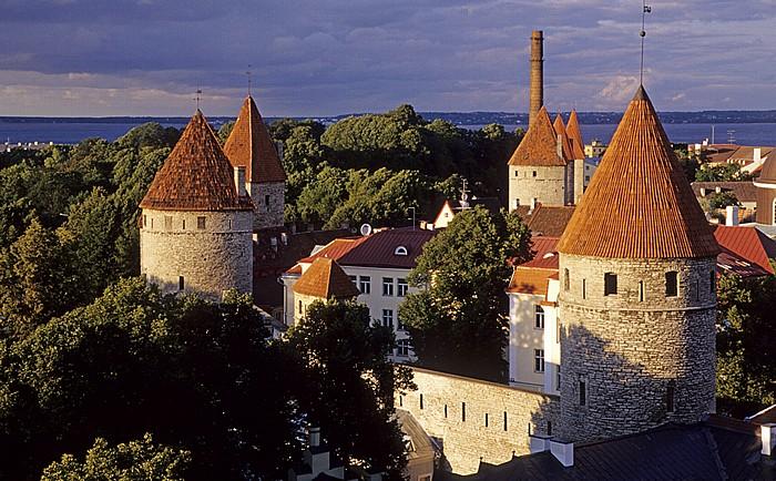 Altstadt: Blick vom Domberg - Türme der Stadtmauer Tallinn 2011