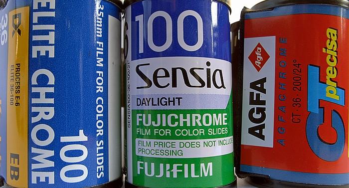 München Diafilmpatronen: Kodak Elitechrome 100, Fuji Sensia 100, Agfa CT precisa 200