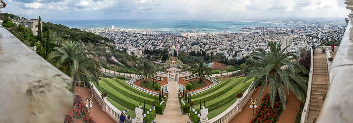 Haifa Gärten der Bahai mit dem Schrein des Bab, Stadtzentrum, Hafen, Mittelmeer