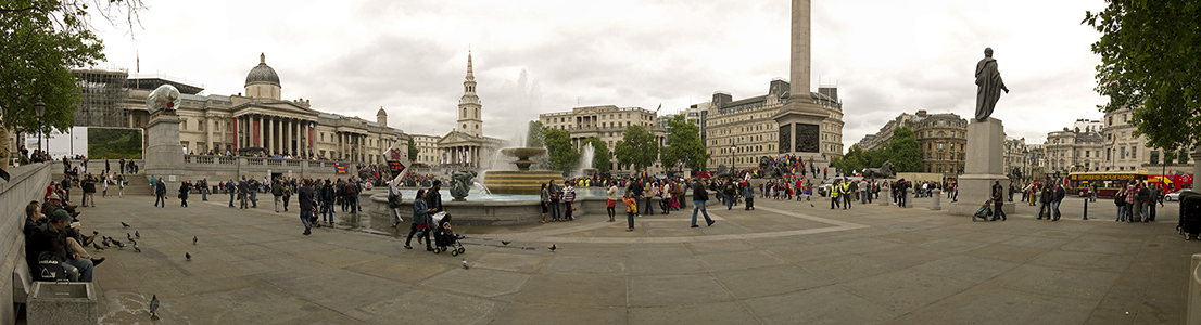 London Trafalgar Square, National Gallery, St Martin-in-the-Fields, South Africa House, Grand Buildings, Nelson's Column