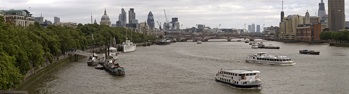 London Blick von der Waterloo Bridge