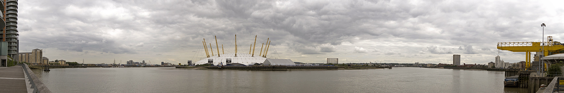 Blackwall, Themse, Greenwich Peninsula mit The O2 (Millennium Dome) London