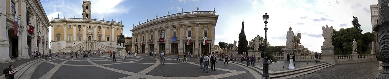 Kapitol: Palazzo Nuovo, Senatorenpalast, Kapitolsplatz mit der Reiterstatue Mark Aurels, Konservatorenpalast Rom